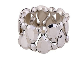 Diamond Cluster Resin Stone Stretch Bangle Bracelet - MillionDollarGurl.Com
