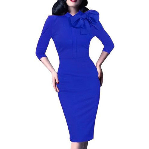 Bow Neck Pencil Dress *Plus - MillionDollarGurl.Com