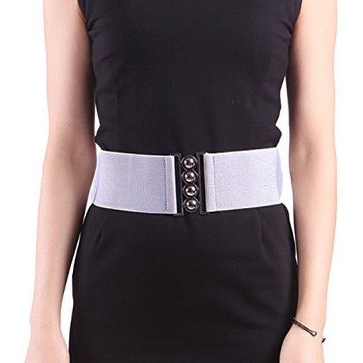 "Elastic Cinch Belt 3"" Wide Stretch Waist Band Clasp Buckle Belt - MillionDollarGurl.Com"