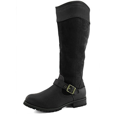 Ankle Buckle Strap Knee High Military Combat Boots - MillionDollarGurl.Com