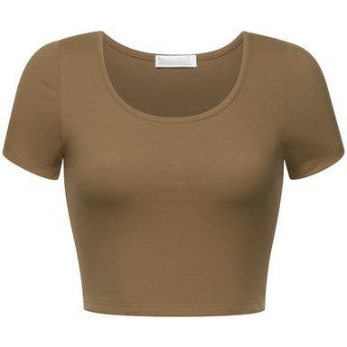 Solid Color Short Sleeve Scoopneck Crop Top - MillionDollarGurl.Com