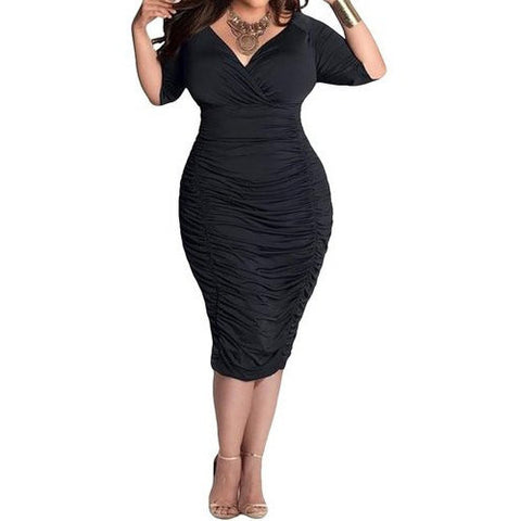 Bodycon Deep V Neck Wrap Ruched Waisted Dress *Plus - MillionDollarGurl.Com