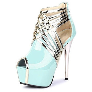 Super High Fashion Peep Toe Stripe Sandals Heels - MillionDollarGurl.Com