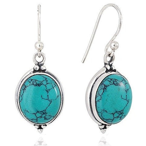 .925 SS Natural Gemstone Oval Dangle Earrings - MillionDollarGurl.Com