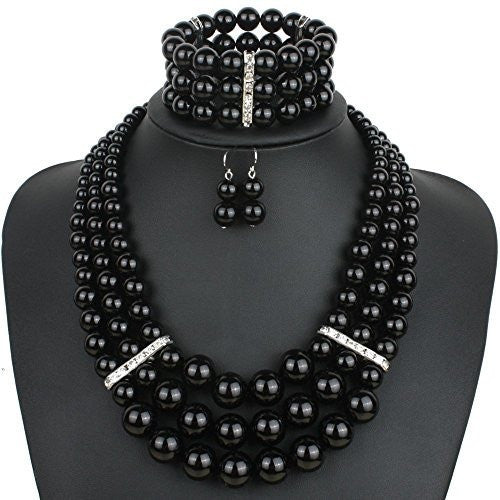 Pearl Strand Necklace Jewelry Set - MillionDollarGurl.Com