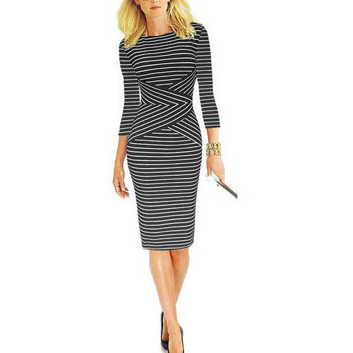 Striped 3/4 Sleeve Wear to Work Pencil Dress *Plus - MillionDollarGurl.Com