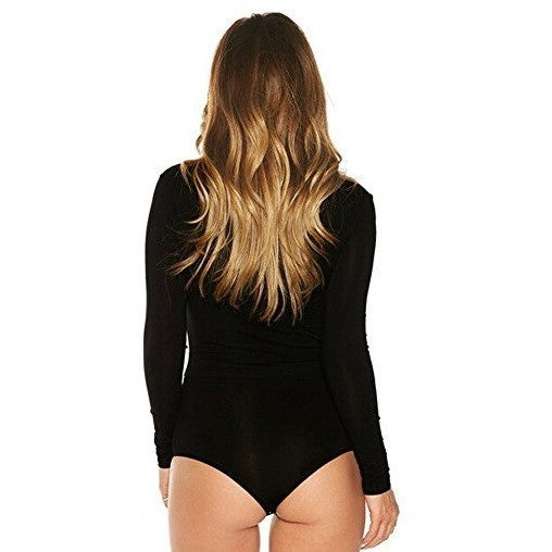 Deep V-Neck Lace Up Tight Bodysuit *Plus - MillionDollarGurl.Com