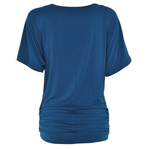 Ruched Short Sleeve Dolman Drape Shirring Top *Plus - MillionDollarGurl.Com