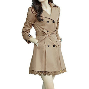 Bowknot Double Breasted Long Trench Coat With Belt & Lace Hem *Plus - MillionDollarGurl.Com
