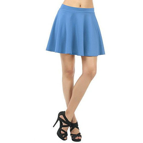 Comfortable Solid Color Versatile Pleated Mini Flare Skirt Thin Waist Band *Plus - MillionDollarGurl.Com