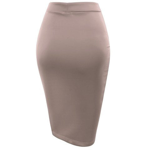 Elastic Waist Band Bodycon Solid Color Pencil Skirt *Plus - MillionDollarGurl.Com