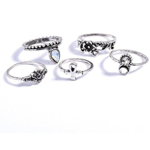 Silver Plated Elephant Moon Crystal Joint Knuckle Nail Ring Set - MillionDollarGurl.Com
