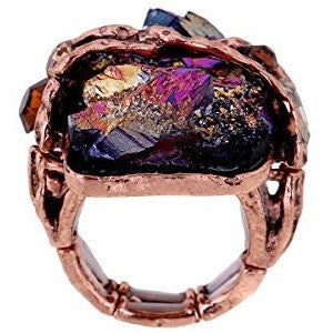 Cubic Gem Resin Stone Antique Gold and Silver Tone Ring - MillionDollarGurl.Com