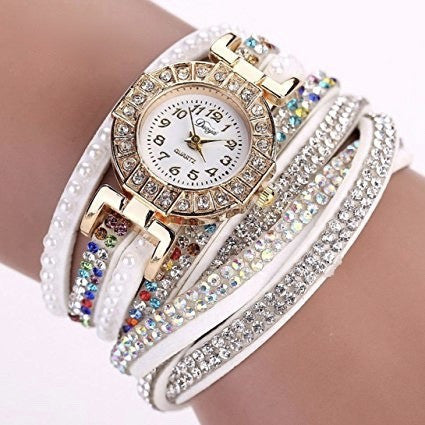 Pearl Scale Bracelet Crystal Diamond Watch - MillionDollarGurl.Com