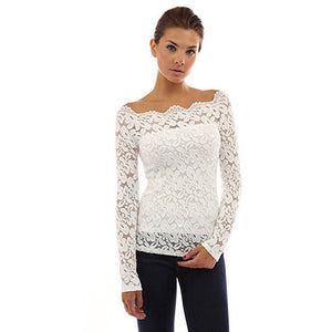 Floral Lace Off Shoulder Twin Set Top - MillionDollarGurl.Com