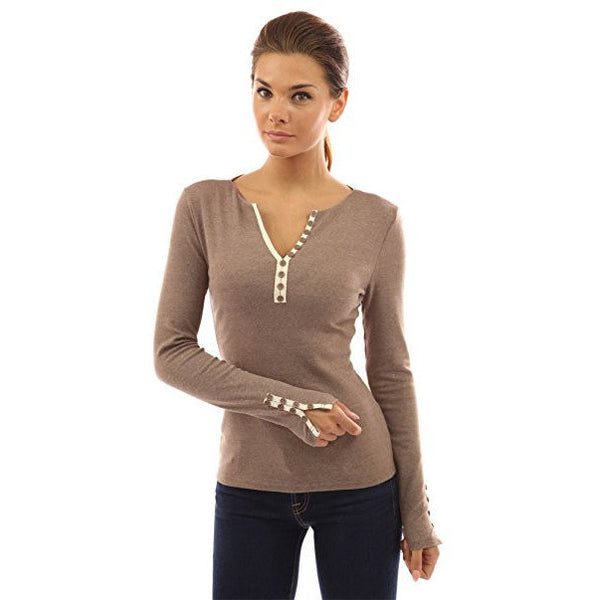 Notch Neck Buttons Trim Top - MillionDollarGurl.Com