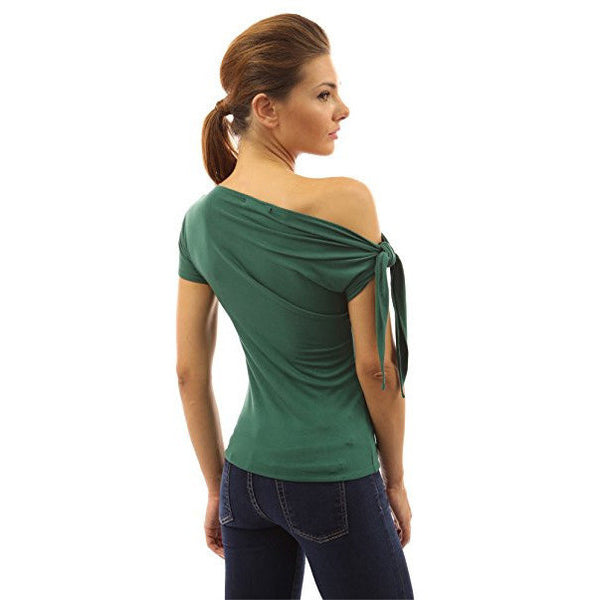 Tied One Shoulder Short Sleeve Top - MillionDollarGurl.Com