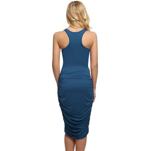 Bodycon U-Neck Stretch Ruched Dress *Plus - MillionDollarGurl.Com