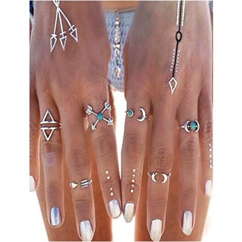 6 Pcs Silver Arrow Joint Knuckle Midi Ring Set - MillionDollarGurl.Com
