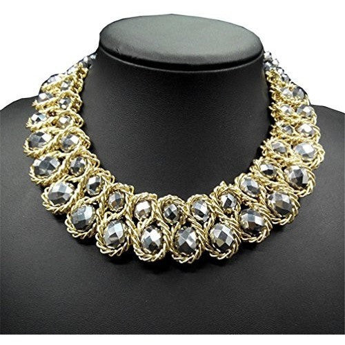 Chunky Choker Gold Tone Statement Necklace - MillionDollarGurl.Com