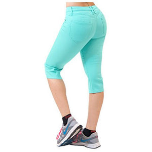Solid Color Bum Lifting Comfy Stretch Denim Capri Jeans *Plus - MillionDollarGurl.Com