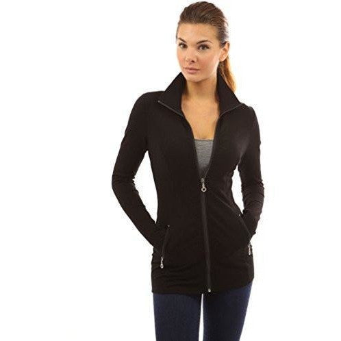 Collar With Pockets Casual Zip Jacket - MillionDollarGurl.Com