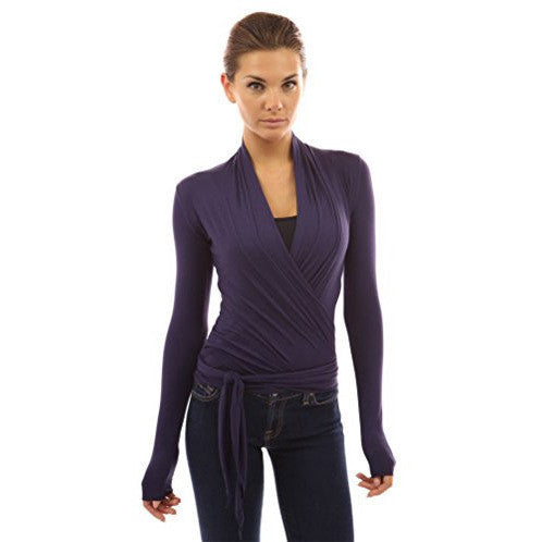 Convertible Long Sleeve Casual Wrap Knit Top - MillionDollarGurl.Com