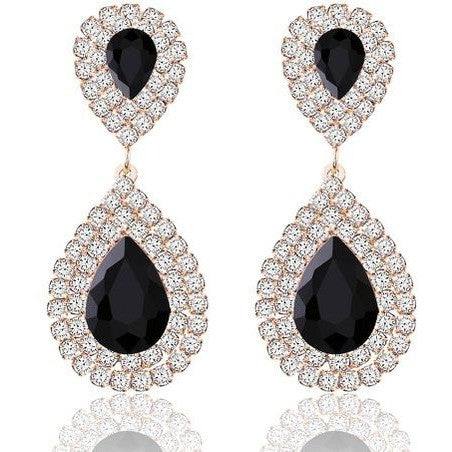 Silver Gold Rose Gold Plated Crystal Rhinestone Drop Earrings - MillionDollarGurl.Com