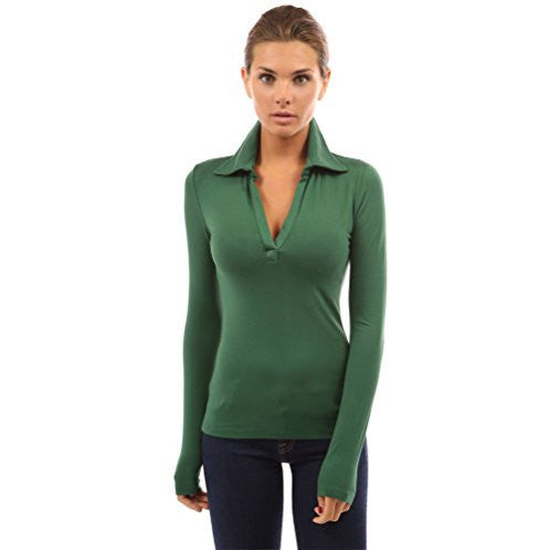 Basic V-Neck Long Sleeve Solid Color Polo Shirt - MillionDollarGurl.Com