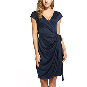 Cap Sleeve V-Neck Draped Tie-Belt Wrap Dress *Plus - MillionDollarGurl.Com