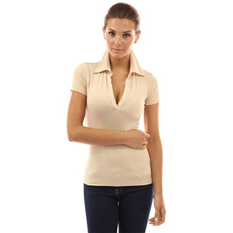 Basic V-Neck Short Sleeve Solid Color Polo Shirt - MillionDollarGurl.Com