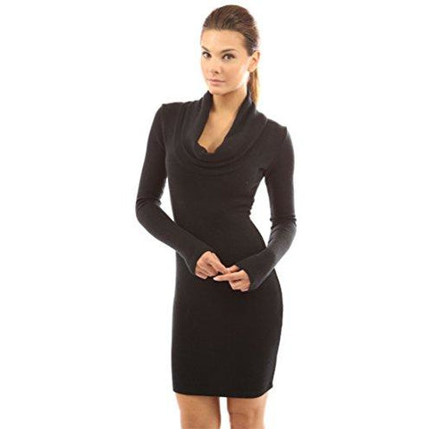 Cowl Neck Long Sleeve Knit Bodycon Dress *Plus - MillionDollarGurl.Com