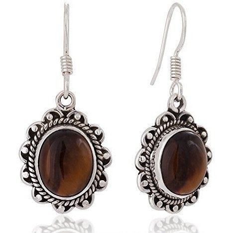 .925 SS Natural Gemstone Oval Vintage Dangle Earrings - MillionDollarGurl.Com