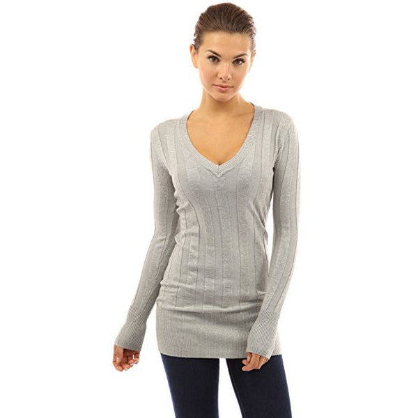 Ribbed V-Neck Tunic Knit Top - MillionDollarGurl.Com