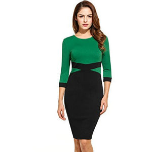 Colorblock 3/4 Sleeve Business Cocktail Party Pencil Dress *Plus - MillionDollarGurl.Com