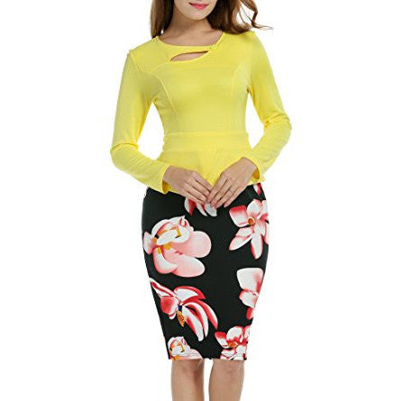 Keyhole Neck Floral Print Peplum Bodycon Office Dress - MillionDollarGurl.Com