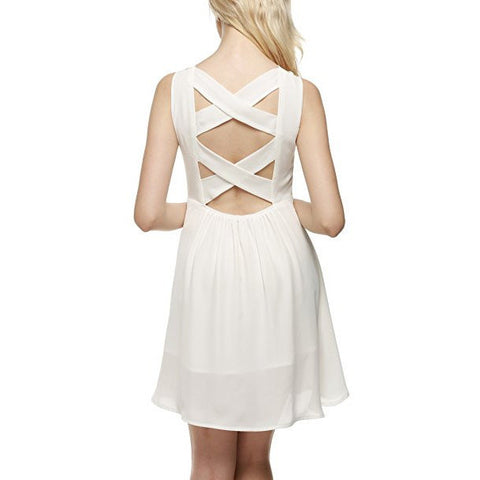 Cut Out Backless A-Line Flare Skater Chiffon Dress *Plus - MillionDollarGurl.Com
