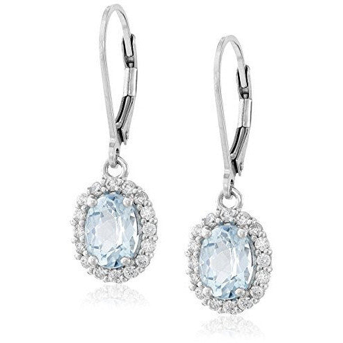 Sterling Silver Gem Halo Leverback Earrings - MillionDollarGurl.Com