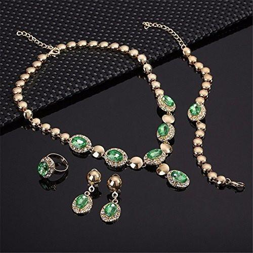 Gold Plated Oval Beads Jewelry Set