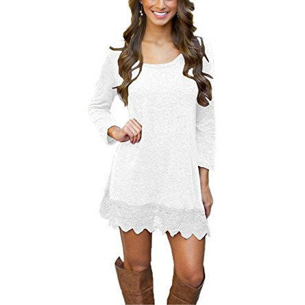 A-line Long Sleeve Lace Trim Mini Dress *Plus - MillionDollarGurl.Com