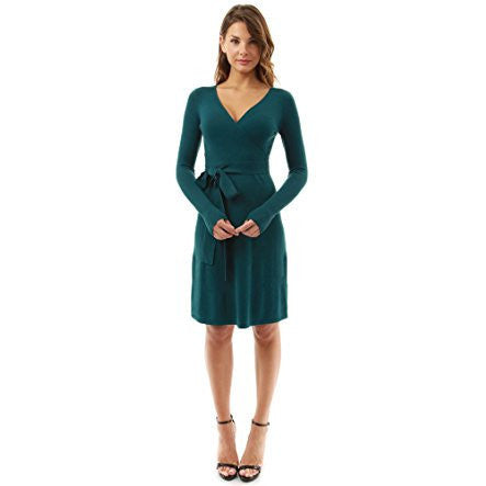 Bodycon V-Neck Faux Wrap Long Sleeve Dress - MillionDollarGurl.Com