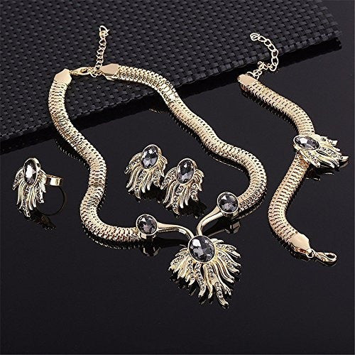 18K Gold Plated Oval Zircon Phoenix Jewelry Set - MillionDollarGurl.Com
