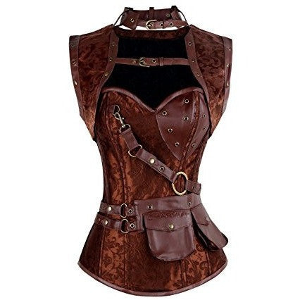 Boned Spiral Steel Gothic Bustier Corset with Chains *Plus - MillionDollarGurl.Com