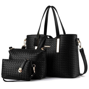 Leather Handbag+Shoulder Bag+Purse 3pcs Bag Tote Set - MillionDollarGurl.Com