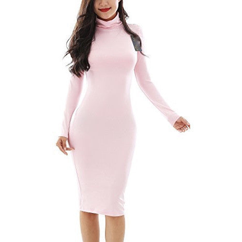 Bodycon Turtleneck Long Sleeve Pencil Dress *Plus - MillionDollarGurl.Com