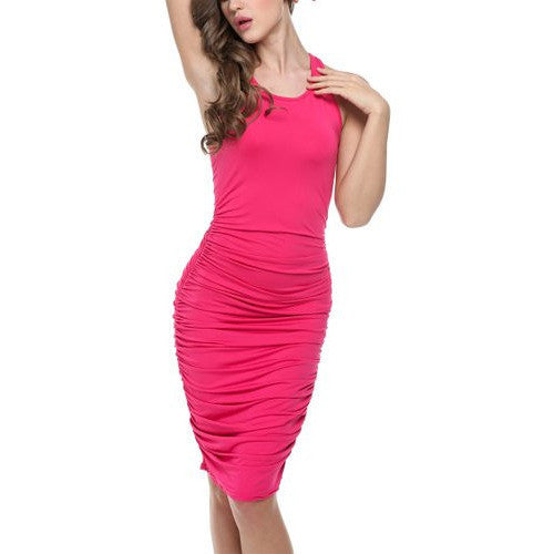 Copy of Bodycon U-Neck Stretch Ruched Dress *Plus - MillionDollarGurl.Com