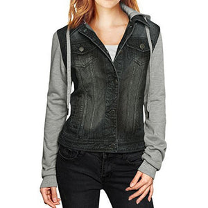 Layered Drawstring Hood Denim Jacket *Plus - MillionDollarGurl.Com