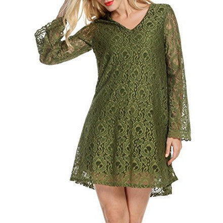 Crochet Lace A-Line Flare Sleeve Mini Dress - MillionDollarGurl.Com