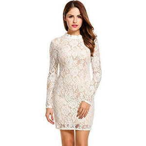 Long Sleeve Lace Shift Mini Dress - MillionDollarGurl.Com