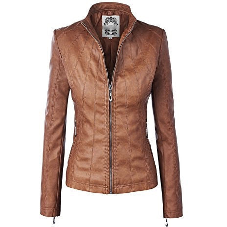 Biker Moto Jacket Faux Leather Zip Up With Stitching Detail *Plus - MillionDollarGurl.Com
